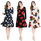 women elegant Vintage print rose Floral long-sleeves party dress plus size S-4XL