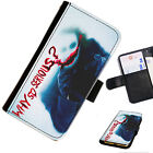 BAT08 JOKER SERIOUS PRINTED LEATHER WALLET/FLIP PHONE CASE COVER FOR ALL MODELS