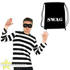 BURGLAR COSTUME ROBBER FANCY DRESS STRIPED TOP EYEMASK SWAG BAG THIEF CONVICT