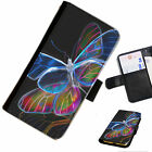 BUTT17 BUTTERFLY PRINTED LEATHER WALLET/FLIP PHONE CASE COVER FOR ALL MODELS