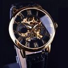 Men 3D Hollow Engraving Case Roman Numbers Skeleton Dial Mechanical Watch Hot