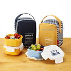 KOMAX Lunchmate BPA Free Diet Mini Lunch box bento Set-3 Containers with Bag