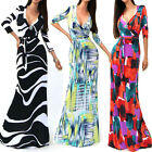 New Ladies Women's Sexy Casual 3/4 Sleeve V-Neck Straight MAXI Long Party Dress