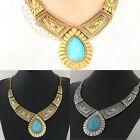 Fashion Women Lady Gold Siver Plated Turquoise Pendant Chain Statement Necklace