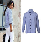 New Fashion Women Lady Casual Cotton Long Sleeve Striped Loose Shirt Blouse Top0