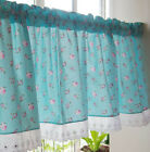Country Cottage Home Blue Pink Rose Kitchen Window Tier Cafe Curtain