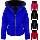 Womens Quilted Long Sleeve Padded Warm Coat Thick Puffer Fur Collar Jacket