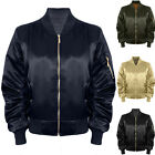 Womens Stylish Ma1 Vintage Satin Lined Padded Bomber Biker Shiny Coat Jacket