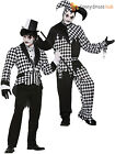 Mens Harlequin Evil Clown Costume Adult Dark Jester Fancy Dress Halloween Outfit