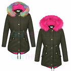 Girls Rainbow Hot Pink Fur Trim Hooded Jacket Girls School Padded Parka Coat