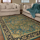 Green Petals Scrolls Leaves Traditional-Persian/Oriental Area Rug Floral 3811