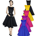 Vintage Women Classic Hepburn 1950s 60s Rockabilly Cocktail Party Swing Dress