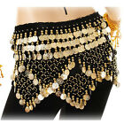 Belly Dance Costume Hip Scarf Velvet Coins Bellydance12 Colors Wrap Skirt