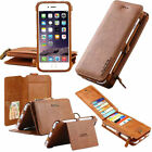 Genuine Leather Detachable Removable Zipper Magnetic Card Wallet Case For Phones