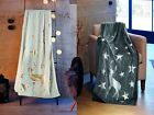 STAG & STARS METALLIC FLANNEL FLEECE THROW BLANKET BEDSPREAD 150cm x 200cm