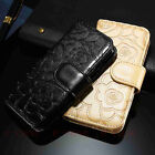 Luxury Camellia Printing Wallet PU Leather Card Flip Stand Case Cover For Phones
