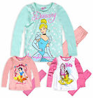 Girls Disney Princess Long Sleeved Pyjamas New Kids 100% Cotton PJ Set 2-8 Years