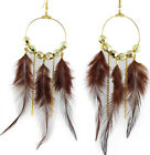JF270 Wholesale Lots Feather Earrings Golden Bead Circle Chain You Pick Quantity