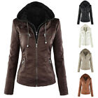 New Womens Warm Hooded Motorcycle Bomber Jacket Winter Thicken Coat Zip Outwear
