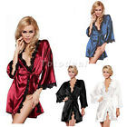 Women Erotic Flirt Seductive Ice Silk Dress Nightgown Bathrobe Pajamas Lingerie