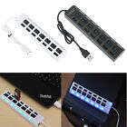 1/4/7 Port USB 2.0 Hub Splitter Adapter ON/OFF Switch for Laptop PC Plug NEW Lot