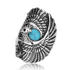 Fashion Man's Stainless Steel Ring Eagle & turquoise Titanium Steel Rings A144