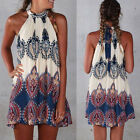 Women Off Shoulder Dress Hippie High Low Cocktail Evening Party Mini Dress