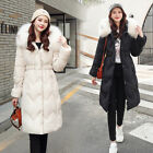 New Fashion Winter Women Down Cotton Long Fur Collar Hooded Coat Jacket Parka