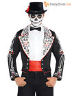 Mens Day Of The Dead Skeleton Tailcoat Halloween Fancy Dress Costume Mexican