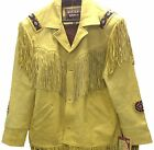Western World Tan/Yellow Leather Fringe & Beaded Jacket Men's