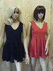 LADIES MINI MICRO TINY SHIFT PARTY DRESS 3 COLOURS BLACK RED ONE SIZE 8-10 UK