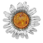 Unique Wishlist Sterling Silver Cognac Amber Sunflower Design Pendant SP030B