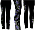 Full-Length Regular Size Leggings Embellished Rhinestone Lavender Star Flower
