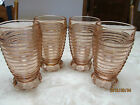 4 MANHATTAN PINK DEPRESSION GLASS FOOTED GOBLETS