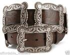 Ladies WESTERN Leather -BIG SQUARE CONCHO BELT-  Silver