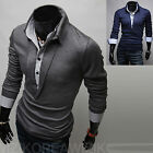 New Fashion Mens Slim Fit Layered Long Sleeve Polo Collar T Shirts Top W005 S/M