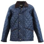 JCB NEWBURY Quilted Jacket Corduroy Collar Chelsea Hunting Shooting Navy Size
