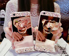 Bling Mirror Crystal  Rotation Stand Ring TPU Soft Gel Case Cover For Cell Phone