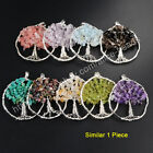 1Pcs Chakra Healing Natural Gems Chips Wire Wrap Tree Of Life Pendant HOT HWX048