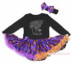 Boos Ghost Halloween Black Cotton L/S Bodysuit Girls Pumpkin Baby Dress NB-18M