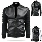 boma men's leather jacket baseball cotten pu mix  US XS S M 3 color
