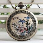 antique bronze Steampunk Elegant orchids Figure Pocket Watch Necklace