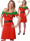 Ladies Christmas Elf Fancy Dress Adults Santas Helper Costume Womens Xmas Outfit