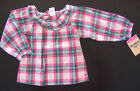 NWT: New OshKosh Pink Green White Plaid Long Sleeve Shirt - 9 mos