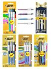 BIC 4 Multi Colour Shine Ball Point Pen Blue Pink Silver Purple 3 Pack