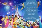 Personalised Disneyland /Disney World Paris/Florida etc Invites inc Envelopes A1