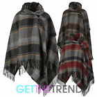 WOMENS WOOL BLEND PONCHO CAPE LADIES CHECK WINTER THICK SHAWL WRAP AROUND CAPE