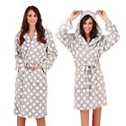Loungeable Boutique Womens Polka Dot Shawl Collared Long Or Short Hooded Robe