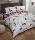 STAG TARTAN CHECK FLANNELETTE DUVET COVER 100% BRUSHED COTTON QUILT SET RED
