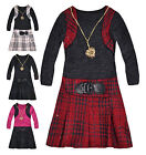 Girls Long Sleeved Check Skirt Dress New Kids Checked Winter Dresses 2-10 Years